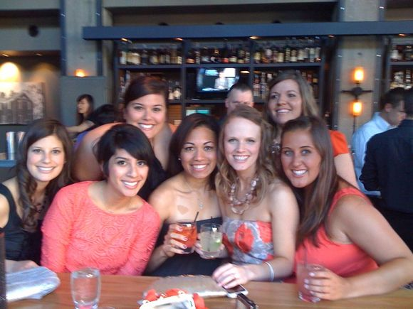 now we have a bridesmaid photo! the girls at the rehearsal dinner.