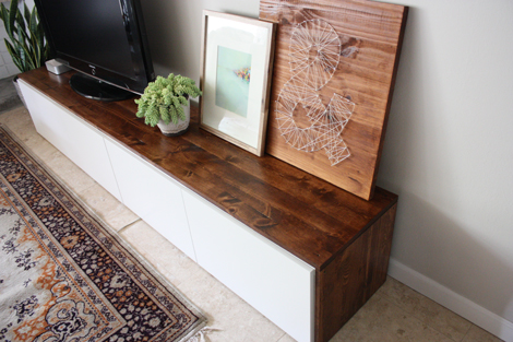 Stained DIY Media Cabinet