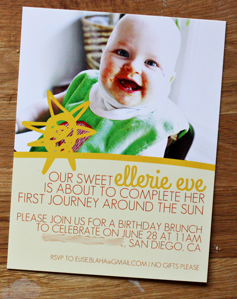 Enjoy it by elise blaha cripe elleries first birthday invitations i picked one of my favorite recent photos of her face full of carrots and all and paired some text with a sun i sketched on my tablet filmwisefo