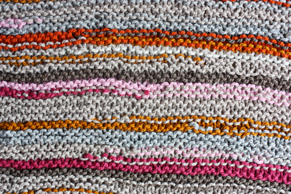 scrap yarn knit blanket