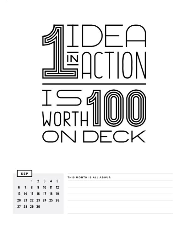 GET TO WORK BOOK calendar page | gettoworkbook.com