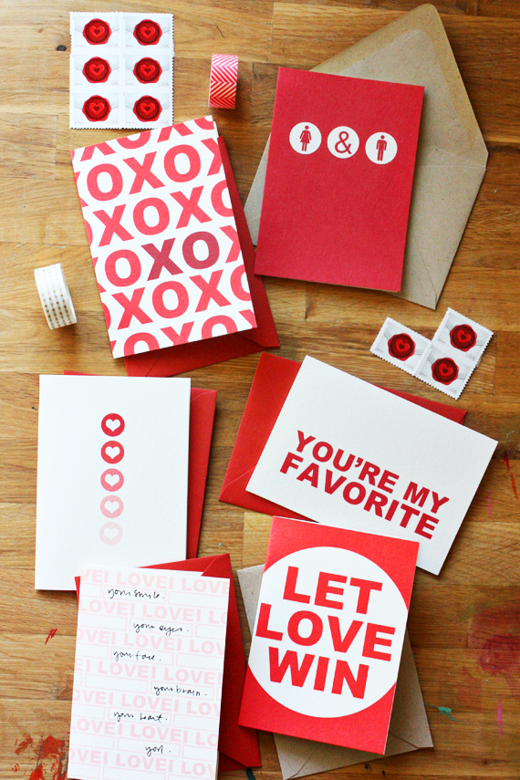 simple DIY graphic valentines using digital stamps