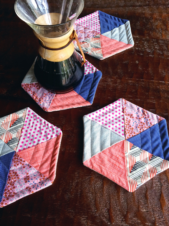 quilted hexagon potholders tutorial