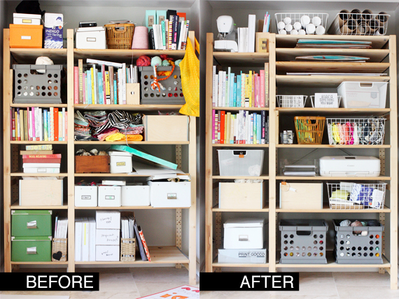 before and after ikea office shelving