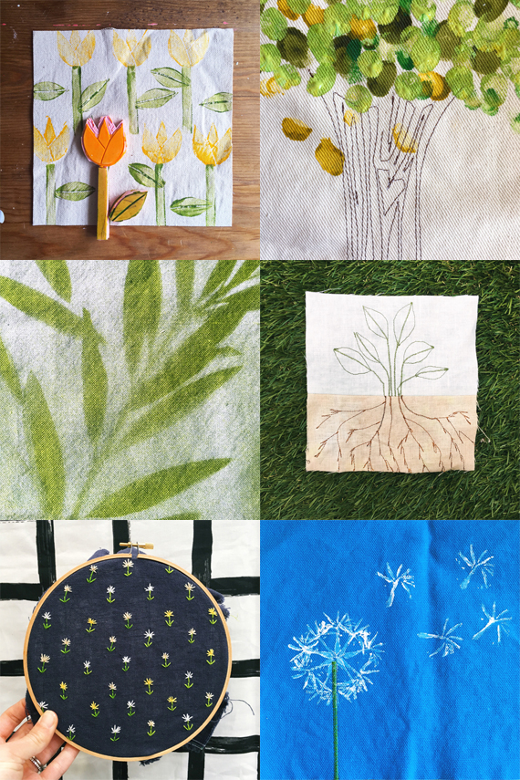 100 plants on fabric #the100dayproject