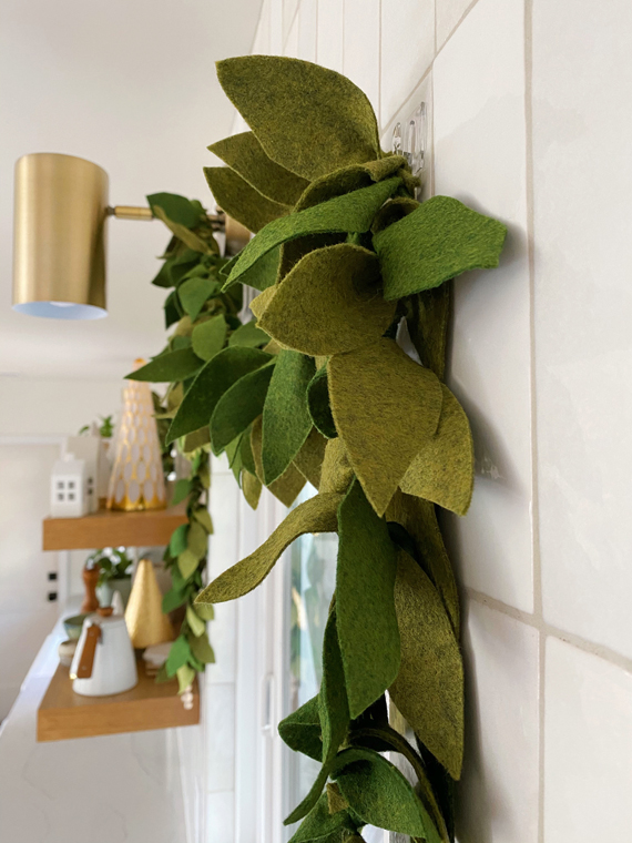 Felt garland hanging